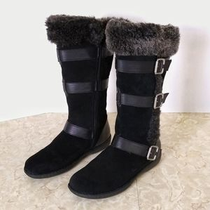 Born Concept Black Suede Fur Lined Mid Calf Boots